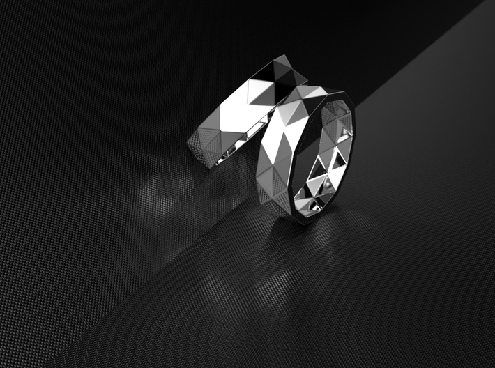 Triangle folding ring 3d printed