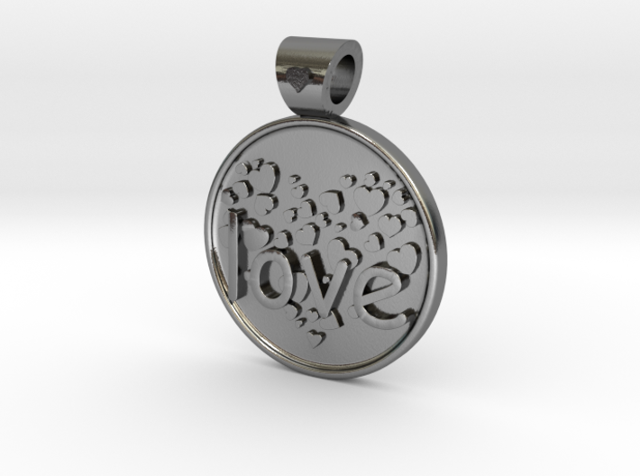 Love is Forever, pendant 3d printed Love...is forever, Polished Silver