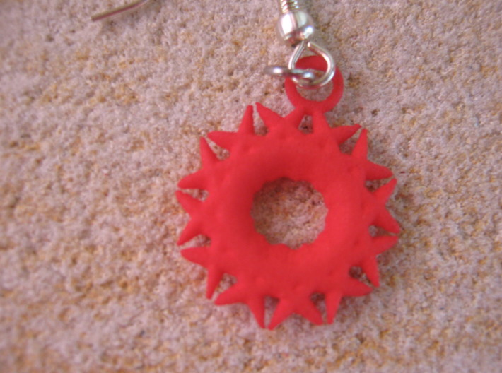 Spiky Sun Earrings 3d printed