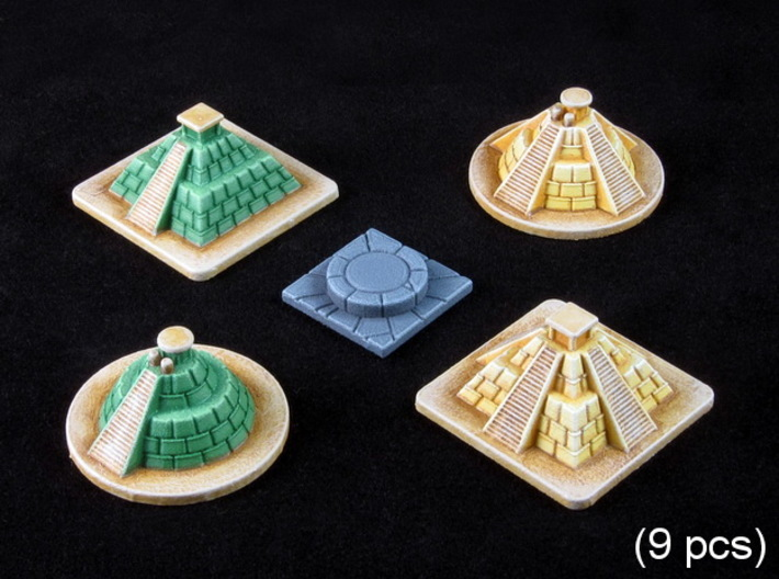 SOL Pyramids & Altar (9 pcs) 3d printed White Strong Flexible, hand-painted