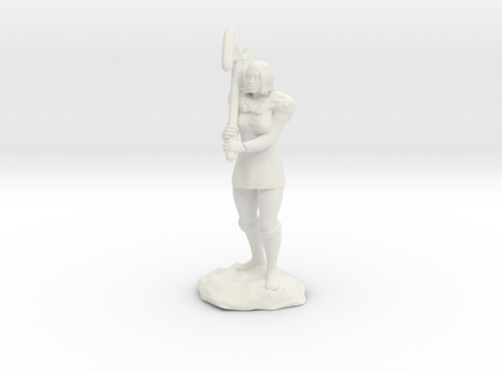 Female Half Orc Barbarian with Axe 3d printed