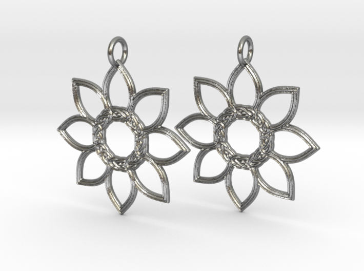 Celtic Flower Earrings 3d printed