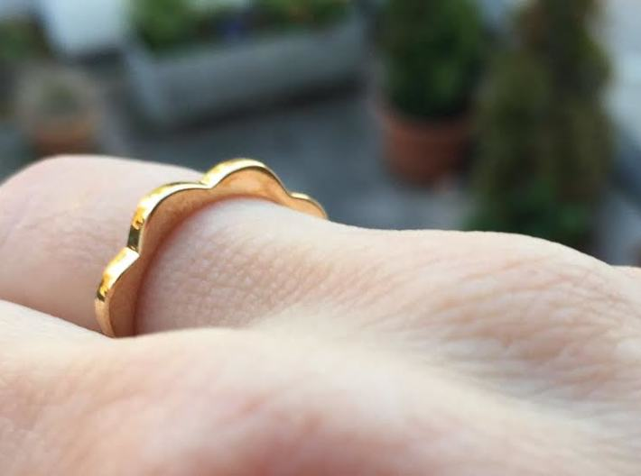 Flower Power Ring S/M 17mm 3d printed Polished Bronze