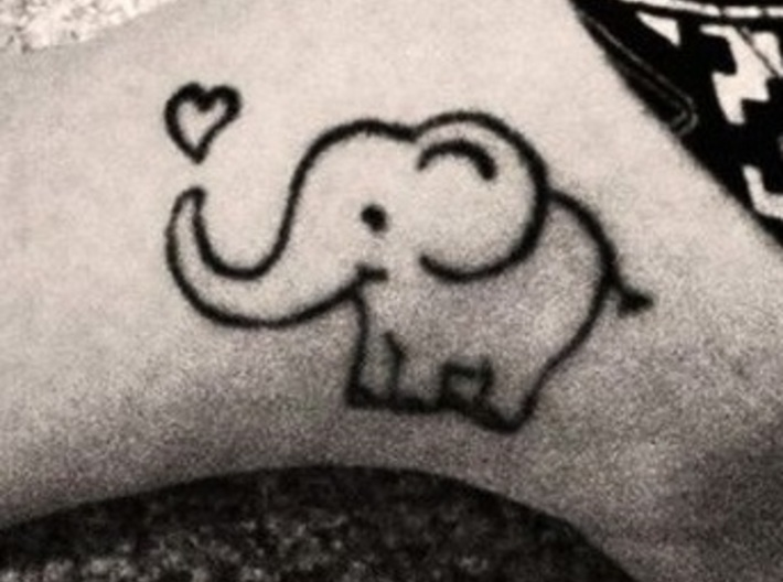 Elephant love tattoo 3d printed