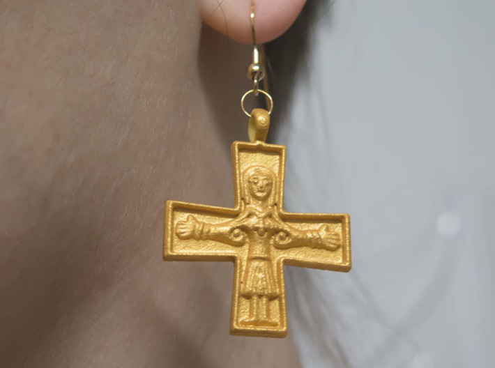 Virgin Mary Cross pair 3d printed Painted. Hooks not included.