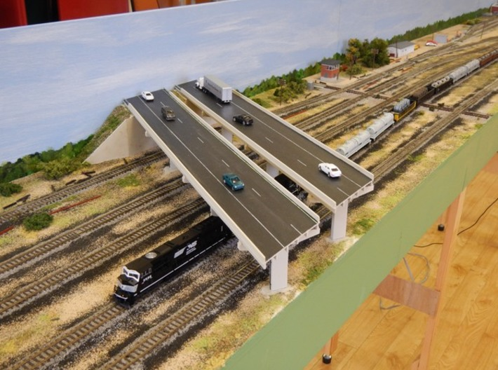 N scale Bridge supports 3d printed Bridge supports used for double highway on Yorkshire N gauge Society Watts crossing layout.
