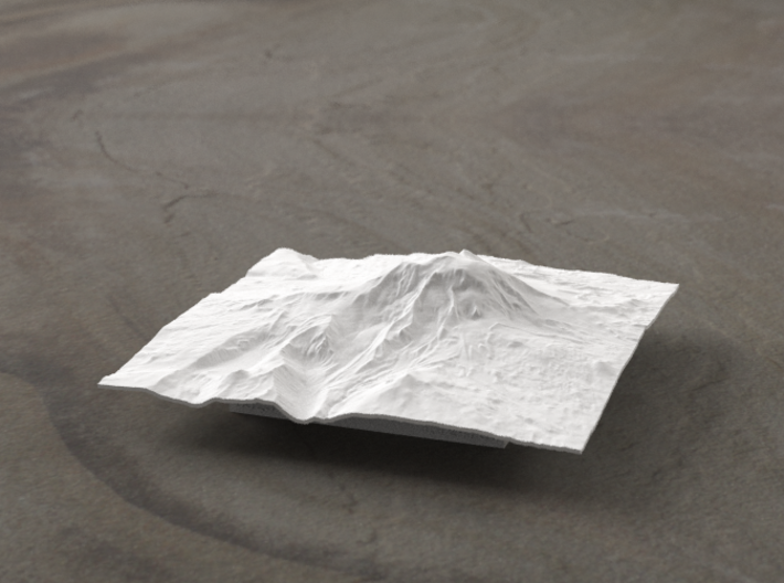 4'' Mt. Adams, Washington, USA, WSF 3d printed Radiance rendering of model, viewed from the East.