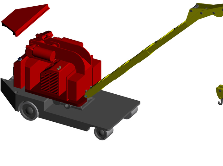 Elwell-Parker 1 Ton Crane HO Scale (1:87) 3d printed Render of the parts assembled.  Full Assemble requires thread for rigging and Brass Wire to support Canopy and brass sheet sidewalks for operators space.