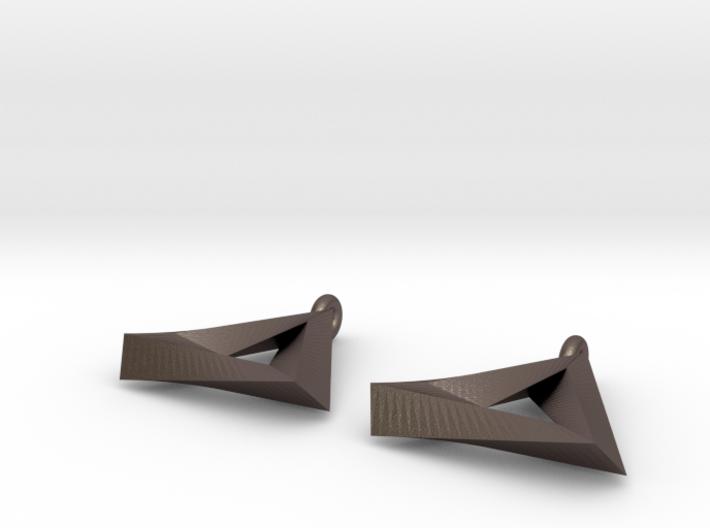 Penrose Triangle - Earrings (17mm   2x mirrored) 3d printed
