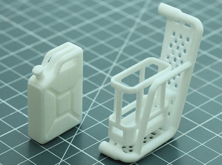 Sand Scorcher Side Pannier with Jerry Can 3d printed In white nylon plastic