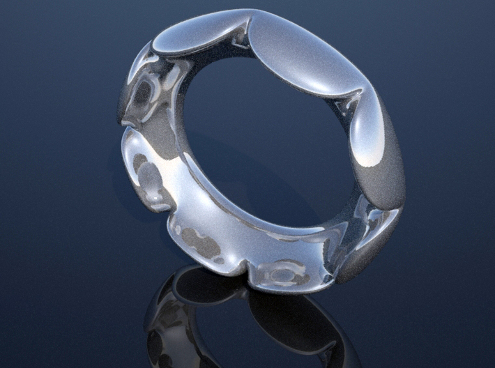 Flower Ring - Size 5 3d printed render in silver