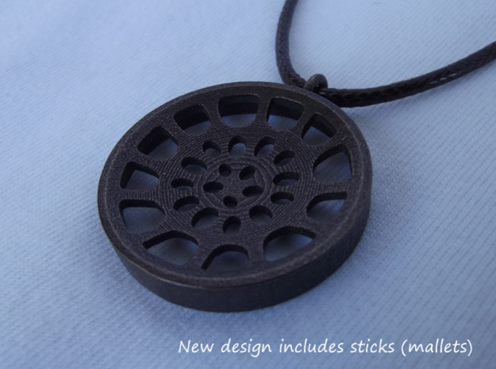 "Low Tenor ""Void"" steeplan pendant 3d printed New design includes sticks (mallets)"