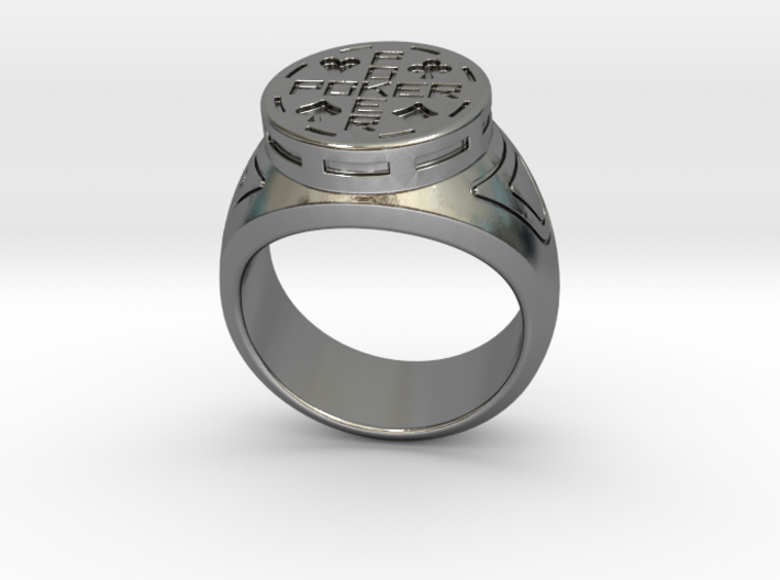 Chevalière-Signet Ring Poker 3d printed