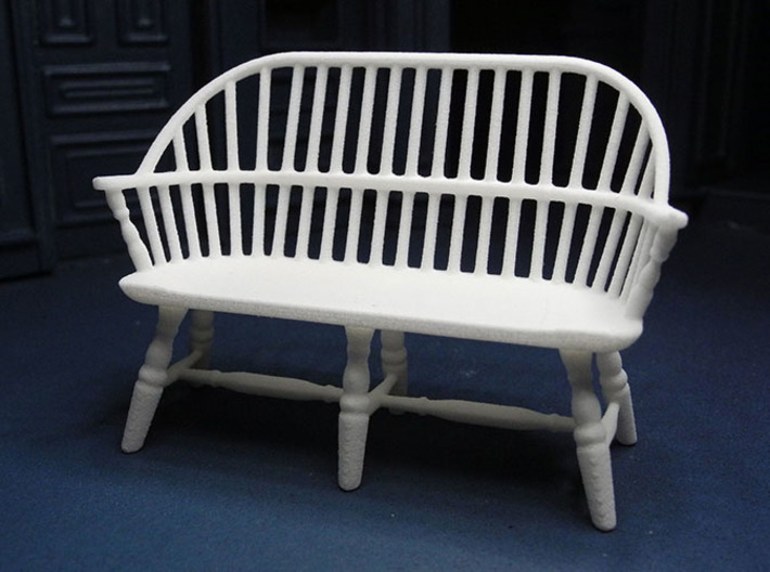 1:24 Windsor Settee 3d printed Printed in White, Strong & Flexible