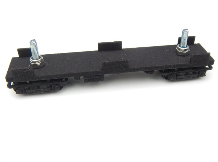 CNSM MD Underframe 3d printed Under frame with trucks fitted using M2.5mm pan head bolt 10mm long and nyloc nut.