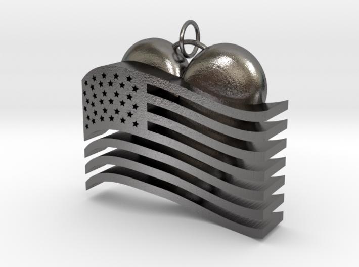 Heart Flag Pendant 3d printed