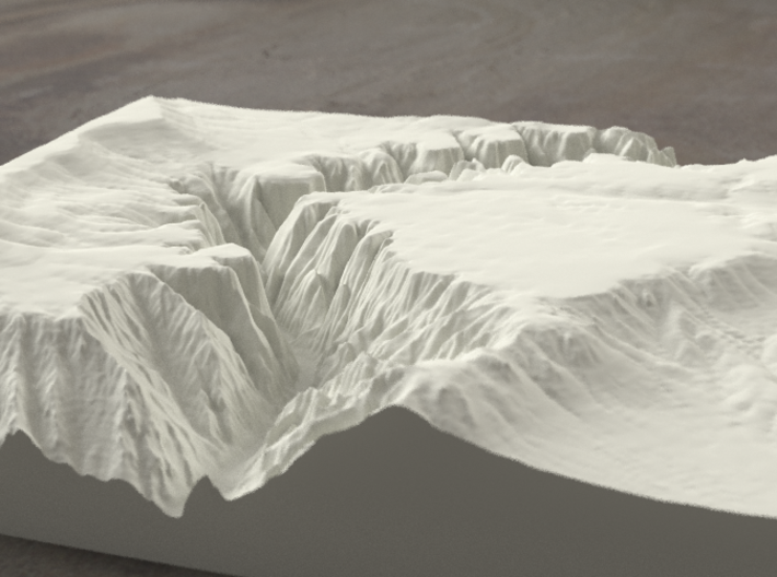 8'' Black Canyon of the Gunnison, CO, Sandstone 3d printed Radiance rendering of model, viewed from the West