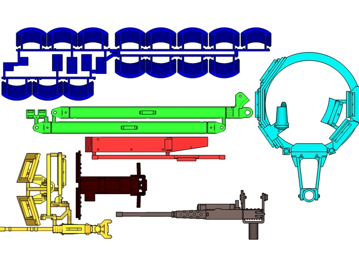 1:18 TUSK 2 TURRET SET 2 & Draw bars 3d printed