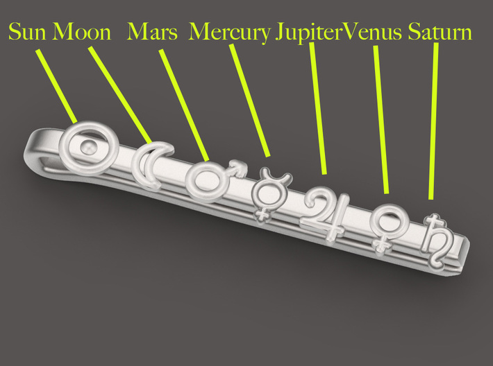 7 days planets tieclip 3d printed