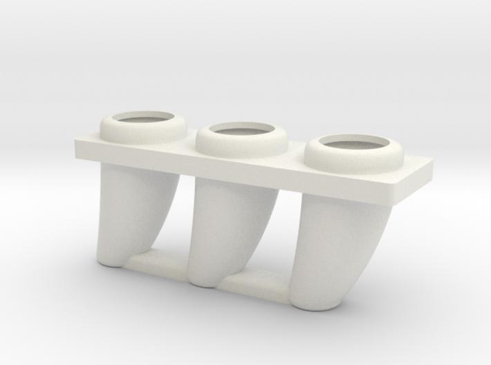 Dinosaurs triple tooth flowerpot 3d printed