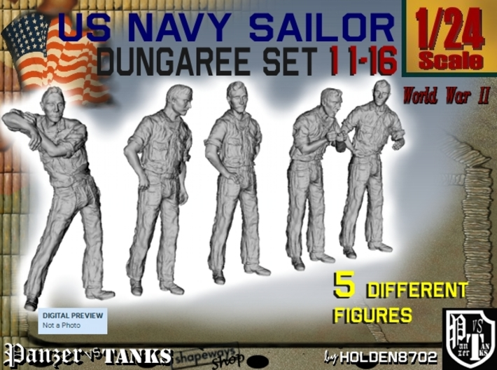 1-24 US Navy Dungaree Set 11-16 3d printed