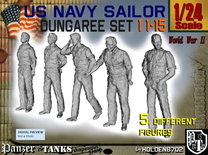 1-24 US Navy Dungaree Set 11-15 3d printed