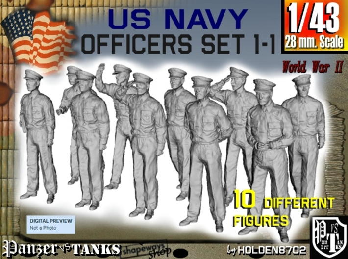 1-43 USN Officers Set1-1 3d printed