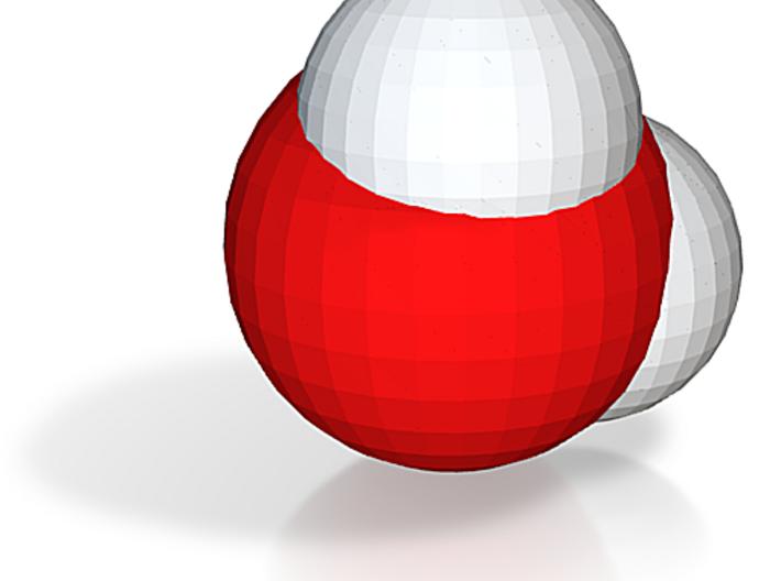Water molecule (x40,000,000, 1A = 4mm) 3d printed