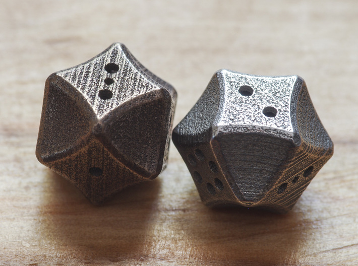Futuristic Die 3d printed Photo showing other faces of the dice.