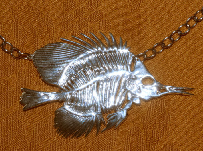 Butterfly fish skeleton pendant nmtd44pbj by camazine butterfly fish skeleton pendant 3d printed aloadofball Image collections