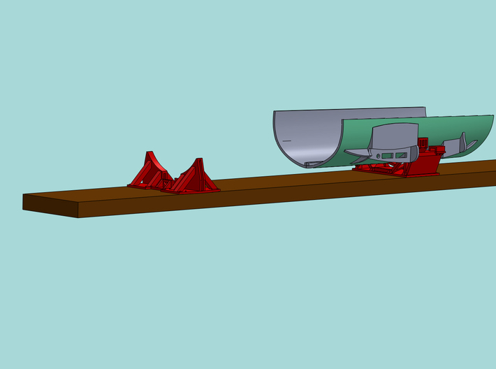 1/87 Boeing Fuselage Cradles & Wing sub-structure 3d printed CAD render showing Nose Cradle, Mid-fuselage Cradle & 737-400 fuselage section.