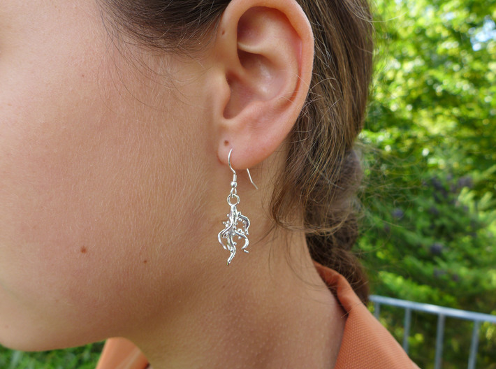 Nodulated Root Earrings - Science Jewelry 3d printed Nodulated root earrings in polished silver
