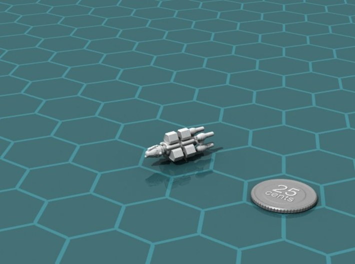 Belter Mining Boat 3d printed Render of the model, with a virtual quarter for scale.