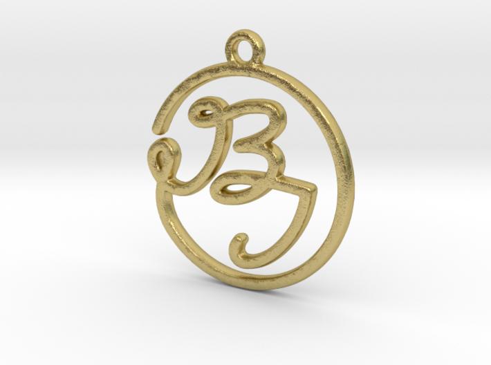 B & I Script Monogram Pendant 3d printed