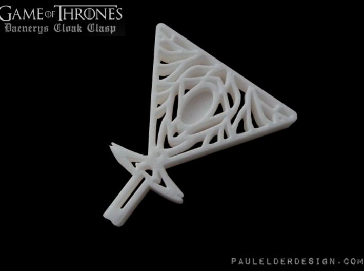 Daenerys Cloak Clasp 3d printed Model in White Strong and Flexible