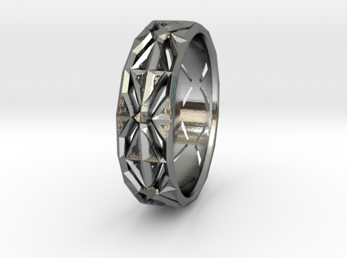Cut Facets Ring Sz. 4 3d printed