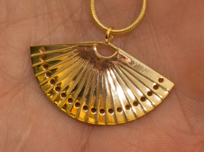 Fan 3d printed 18K Gold Plated brass