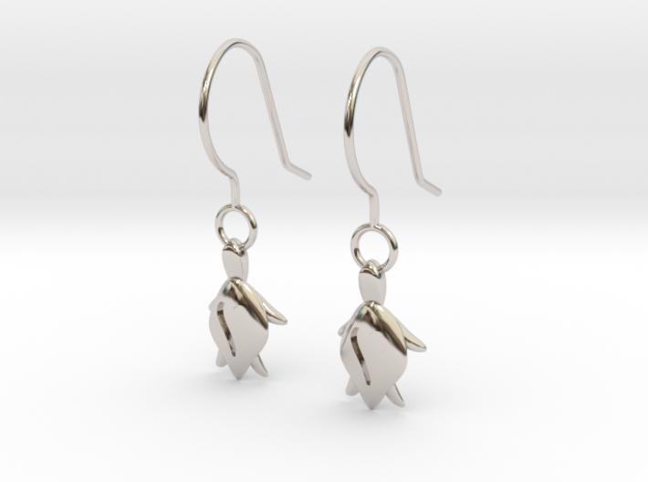 Turtle Heart Earrings 3d printed
