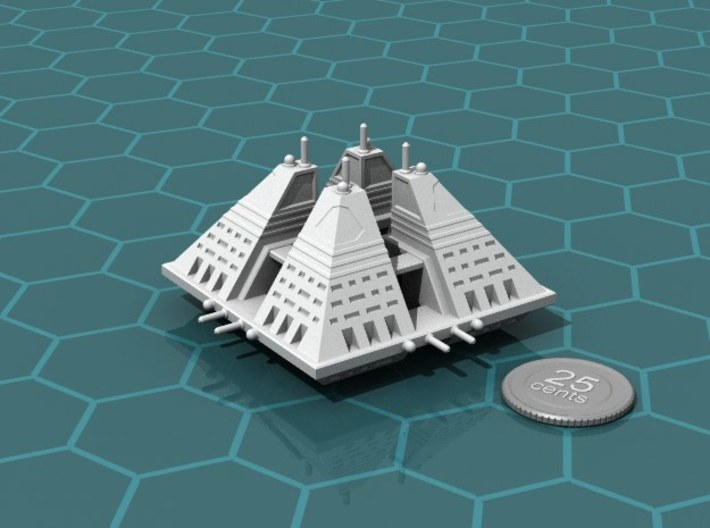 Ngaksu Fortress 3d printed Render of the model, with a virtual quarter for scale.