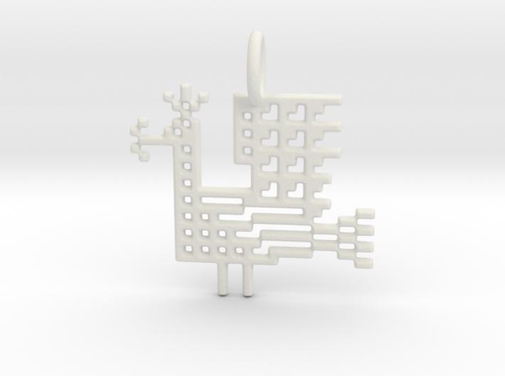 Pixel Peacock Pendant 3d printed