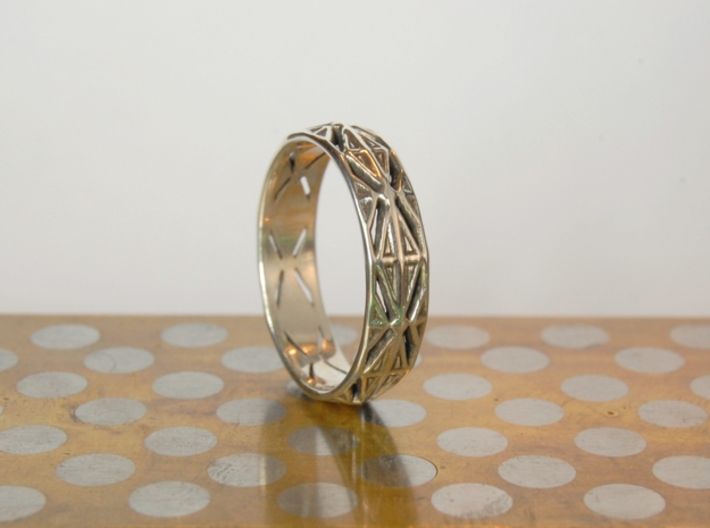 Cut Facets Ring Sz. 10.5 3d printed polished silver