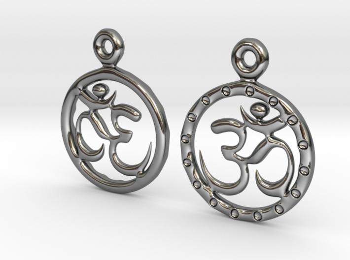 Om EarRings - Pair - Precious Metal 3d printed