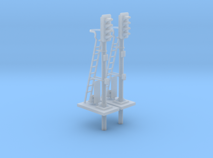 Pair of OO scale 4 Aspect Signals With Pole 1:76 3d printed Render