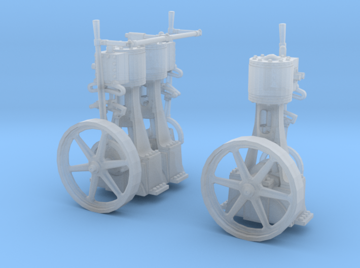 Two Vertical Steam Engines 3d printed