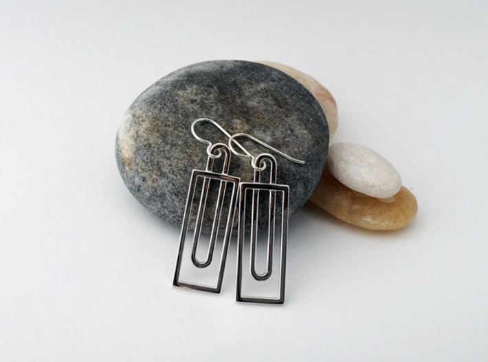 Simple Rectangles - Architectural Earrings 3d printed Modern styling in beautiful polished silver.