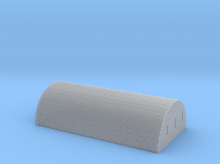 Nissen Hut 24ft Span 8 Bay N Gauge Brick Ends 3d printed