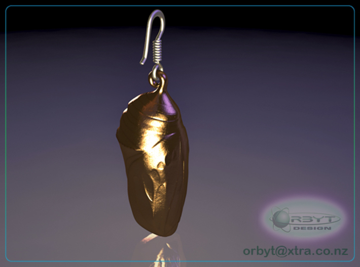 Monarch Butterfly Chrysalis~Danaus plexippus 25mm 3d printed Raytraced render simulating polished bronze material
