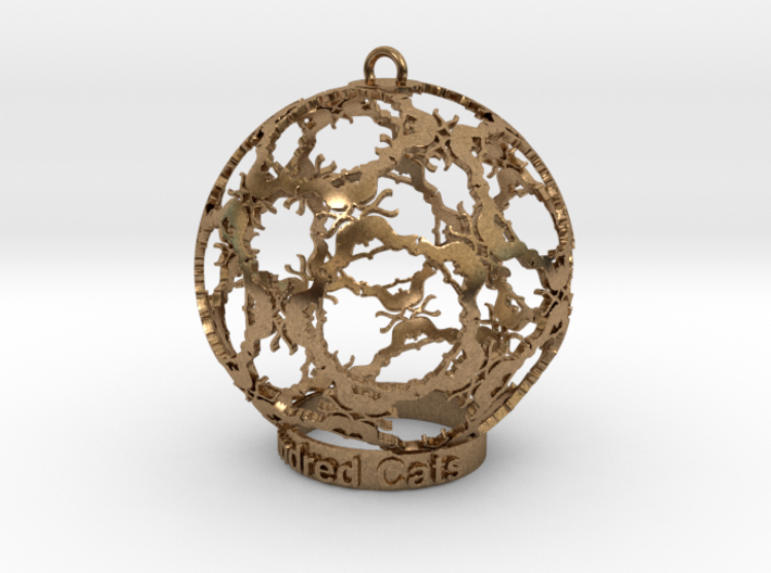 Hundred Cats Ornament 3d printed Brass kitties