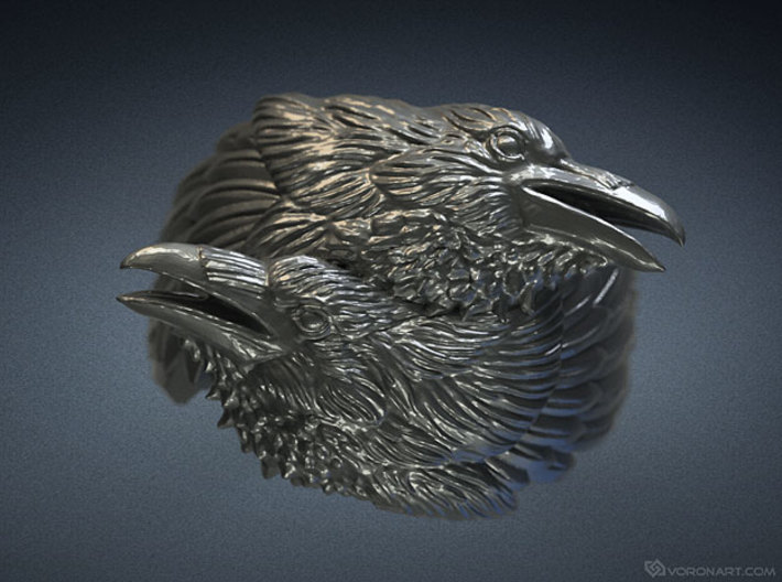 Two Ravens Ring 3d printed