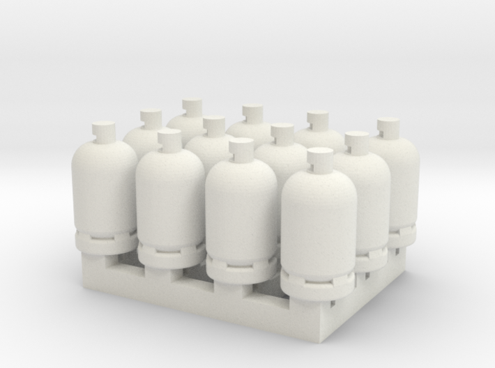 12 Gas Bottles 3d printed
